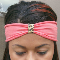 Womens Leopard, Coral, Turban Headband, Hair Accessory,Hair Wrap, Fashion Headband