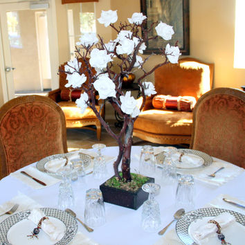 28 Inches White Natural Manzanita Tree Wedding Centerpiece With Moss Base