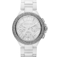 Michael Kors Mid-Size White Stainless Steel Camille Chronograph Glitz Watch