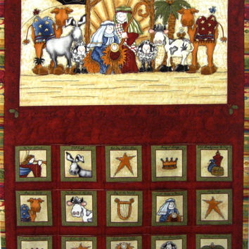 Nativity Advent Calendar  Whimsical   Quilted Wall Hanging  Heirloom Keepsake