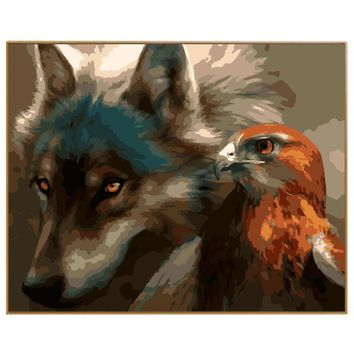PHKV Abstract Animal Wolf And Eagle Diy Painting By Numbers Hand Drawing Picture Digital Coloring By Numbers Home Decor Wall Art