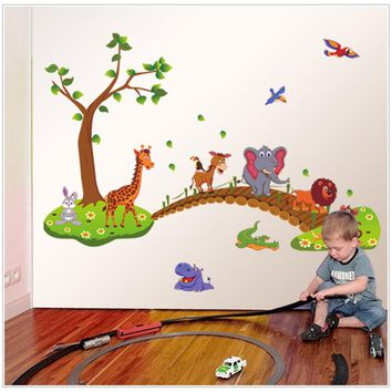 New Removable Eco Cute Cartoon Animals Tree Wall Decals Children Bedroom Room Decor Wall Stickers Removable Kids Nursery Decal