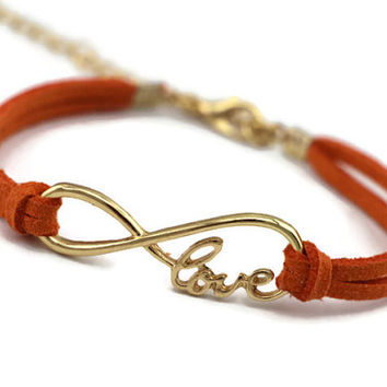 Gold Infinity Bracelet, Love Bracelet, Christmas Gift, Orange Bridesmaid Jewelry Maid of Honor Friendship Christmas Gift Trending Adjustable