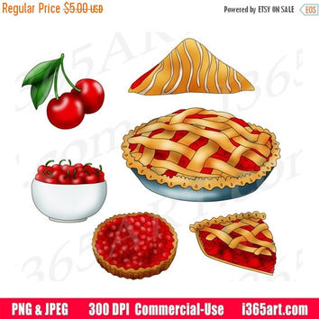50% OFF SALE Cherry Clipart, Cherry Clip Art, Cherry Pie, Cherry Tart, Cherry Fruits, Digital, Scrapbooking, Printable, PNG, Commercial