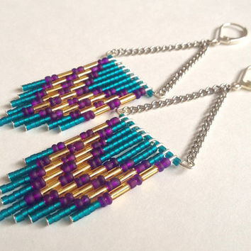 Purple and Teal Double Chevron Earrings
