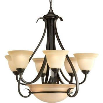 Progress Lighting, Torino Collection 9-Light Forged Bronze Chandelier, P4417-77 at The Home Depot - Tablet