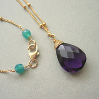 Stone Jewelry, Purple Amethyst Necklace, Wire Wrapped on Gold Filled Beaded Chain