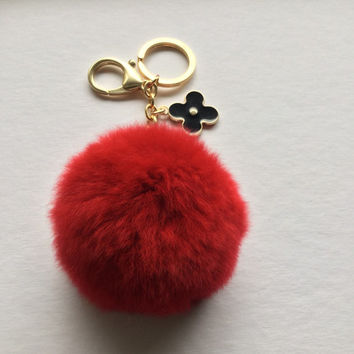 Red fur pom pom keychain REX Rabbit fur pom pom ball with flower bag charm