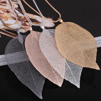 Fashion 4 colors Real Natural Leaves Leaf Pendant Necklace Long Sweater Chain For Women Boho Unique Statement Jewelry Gift