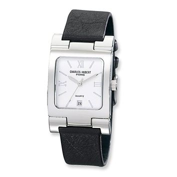 Men's, Square Black Leather Watch by Charles Hubert