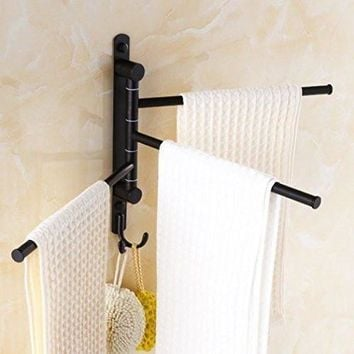 Black Swing Out Retro Towel Holder Bar 3-Bar Alloy Swivel Wall Mounted Hanger with Hooks