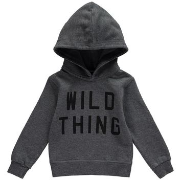 Boys Grey 'Wild Thing' Sweatshirt Hoodie