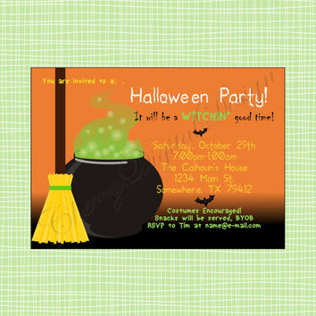 Witch Halloween Printable Digital Party Invitation. Witchin Good Time Halloween Party Invitation.  Fun Halloween Party Invitation