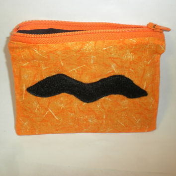 Mustache change purse orange mustache zipper by redmorningstudios