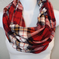 Classic Style Plaid Infinity Scarf Red Yellow Black and White Plaid Fall Fashion Scarf Womens Winter Scarves Girls Holiday Gift for Her