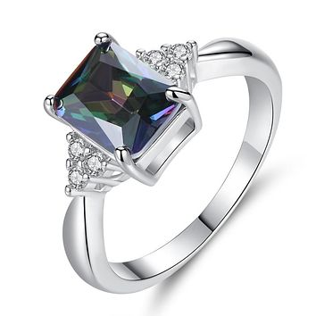 2.5 ct Princess Cut Mystic Topaz Ring