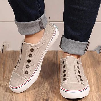 New fashion flat casual denim canvas two-color stitching free sports single shoes Beige