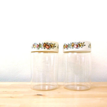 Vintage Pyrex Canisters / Spice of Life / Cookie Jars / Retro Kitchen / Mushroom Print / Corning Spice of Life