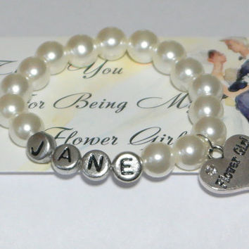 flower girl gift - flower girl bracelet - custom bracelet - name bracelet - monogram flower girl - bridal party gifts - handmade bracelet