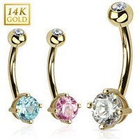 14K Yellow Gold 4-Prong CZ Navel Ring