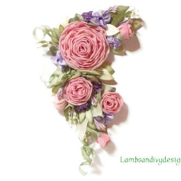 Ribbonwork Roses Pink  and Purple Ribbon Work Flower Pin Applique Hair Clip