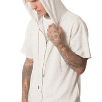 The SS Zip Hoodie in White Speckle