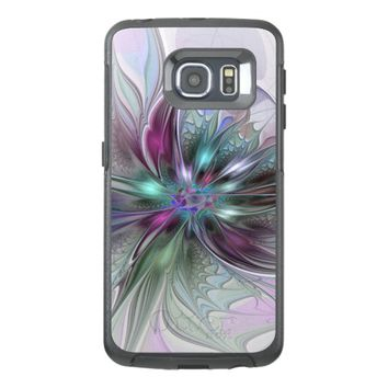 Colorful Fantasy Abstract Modern Fractal Flower OtterBox Samsung Galaxy S6 Edge Case
