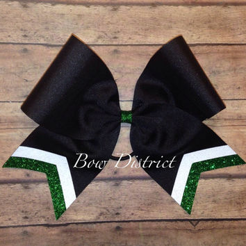 "3"" Black Team Cheer Bow with White and Silver Glitter Tail Stripes"