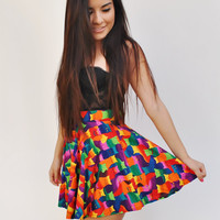 Rainbow Cats Skater Skirt