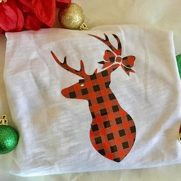 Buffalo Plaid Deer Iron on, iron on decal, Family Christmas shirt DIY, diy shirt iron on, gift for Mom, Buffalo Plaid Christmas