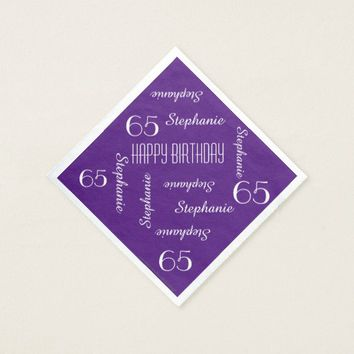 Purple Napkin, 65th Birthday Party Repeating Names Paper Napkin