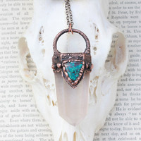 Large Statement Rutilated Quartz Crystal Point & Turquoise Chrysocolla Necklace/Pendant Electroformed In Oxidized Copper