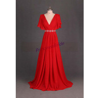 2014 red chiffon prom dresses long,sexy v-neck bridesmaid dress,cheap unique gowns for wedding party,evening dress,women dress in handmade