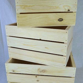 "3 Piece wooden nesting crate set18""x13.75""x9.25"", 16"" x12.25""x9.25"", and 14""x10.25""x 9.25"" high."