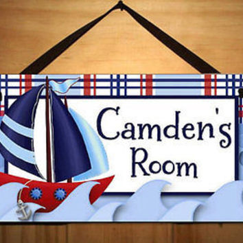 Kids Door Sign Little Sail Boat Nautical Boys Room Personalized Name Sign DS0040