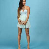 Sale-light Blue Sequined Heartthrob Dress