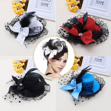 Women Bow Hair Clip Lace Feather Mini Top Hat Fascinator Fancy Party