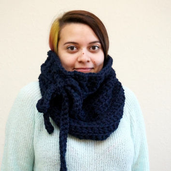 bow cowl, bow scarf, chunky cowl, wool cowl, navy scarf, wool neck warmer, tie cowl, chunky scarf / THE PETRA / Navy / Wool Acrylic Blend