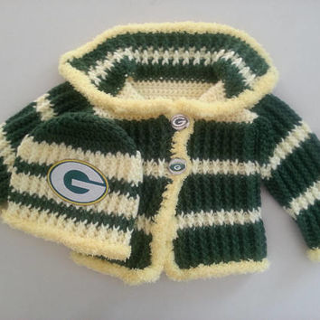 Green Bay Packers Baby Sweater and Hat Set Size 3-6 Months