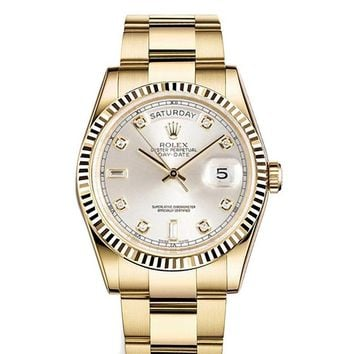 Rolex Day-date 36mm Silver Dial 18k Yellow Gold President Men's Watch 118238