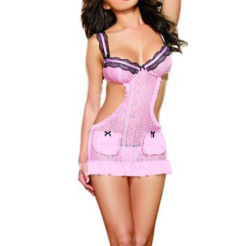 Pretty Baby Pink Lace Apron Babydoll (Medium,Iris)