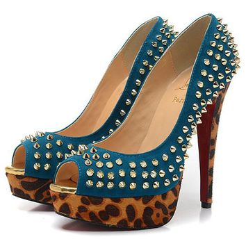 Christian Louboutin Fashion Edgy Rivets Leopard Red Sole Heels Shoes