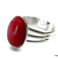 Coral Red Ring Natural Stone 14x10mm Silver Plated Adjustable Ring FREE SHIPPING