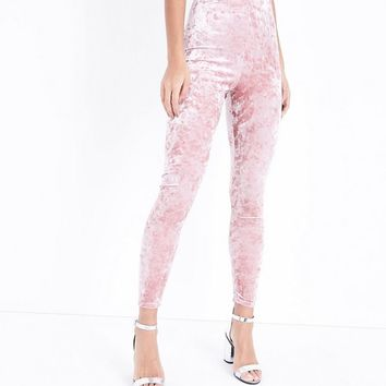 Pink Crushed Velvet High Waist Leggings | New Look