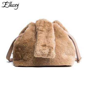 Ellacey 2017 Faux Fur Shoulder Bags Girls Casual Messenger Bag Casual Women Bag Fashion Solid Faux Fur ladies purses and handbag