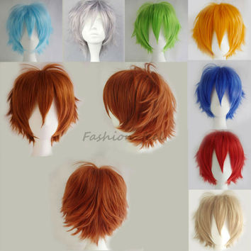Top Popular Women Men New Cosplay Short Wig Synthetic Hair Dark Purple Baby Pink Full Head Wigs Cosplay Fancy Dress