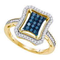 Blue Diamond Fashion Ring in 10k Gold 0.5 ctw