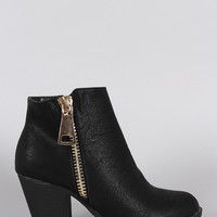 Liliana Zipper Trim Chunky Heeled Cowgirl Booties