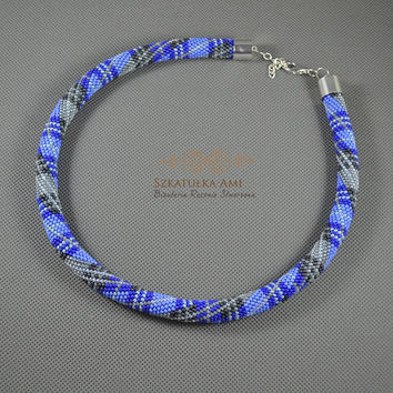 Blue Scottish Tartan necklace Seed beads crochet rope beaded necklace Tube Crochet necklace friend from mother gift womens glass beads
