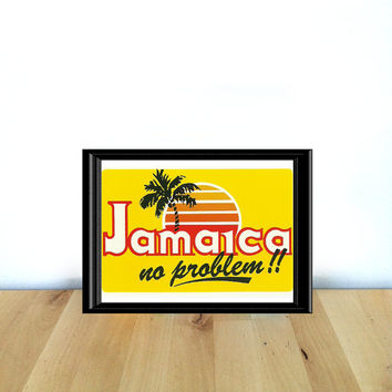 Jamaica No Problem with Sunset and Palm Tree, Paper Ephemera {1990s} Vintage Postcard